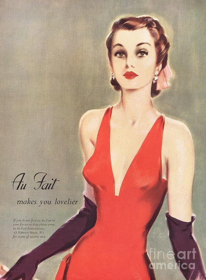 1940s Uk Au Fait Womens Dresses Gloves Drawing
