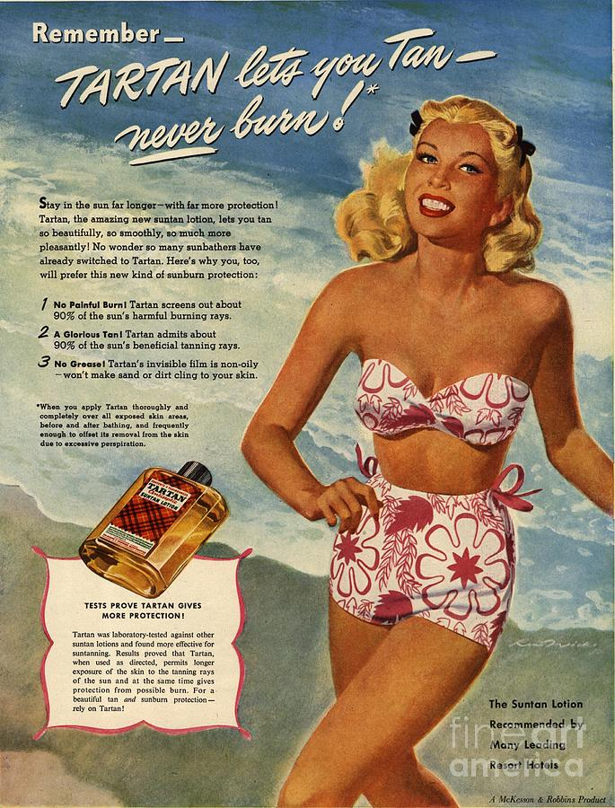 1940�s Drawing -  1940s Usa Tartan   Lotions Swim Suits by The Advertising Archives