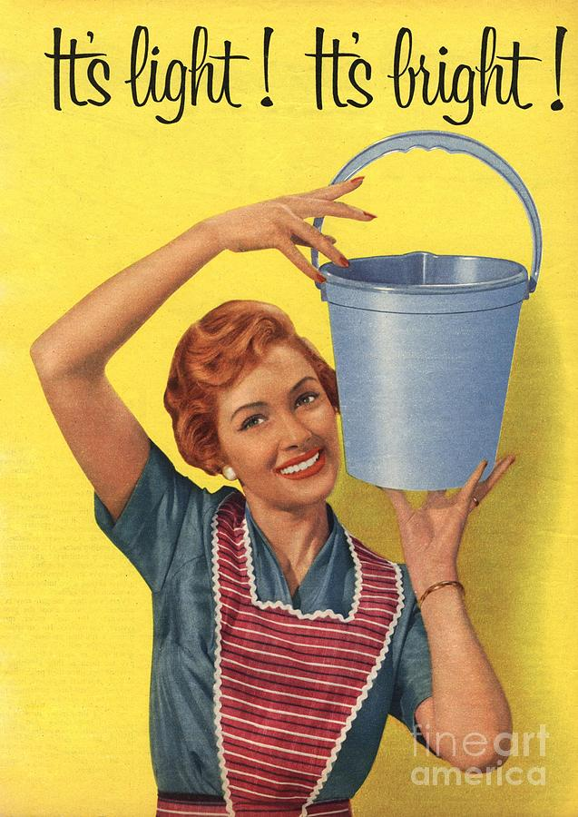 1950s Uk Housewife Housewives Buckets Drawing