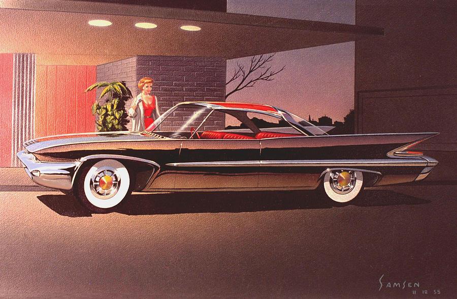 Car Concept Art Painting -  1960 Desoto Classic Styling Design Concept Rendering Sketch by John Samsen