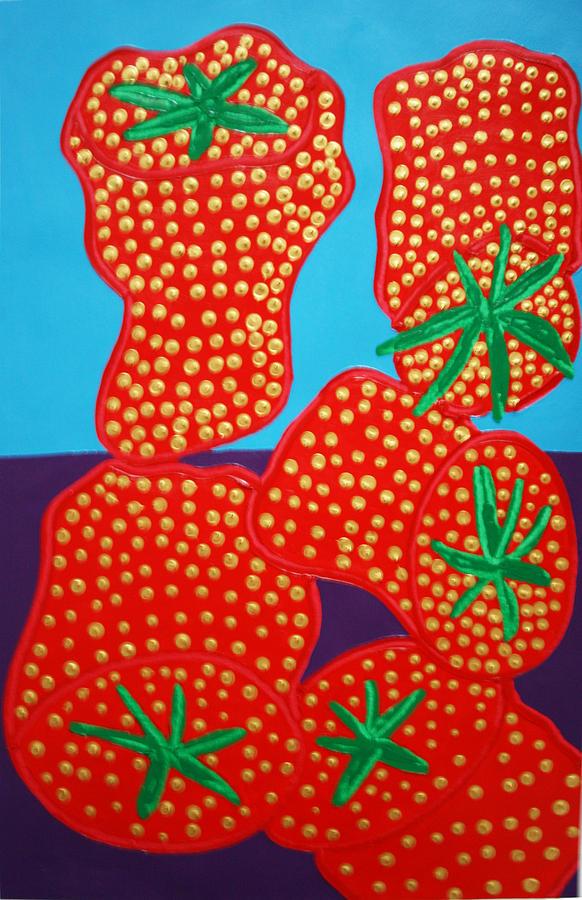 Strawberries Painting -  5 Big Strawberries by Matthew Brzostoski