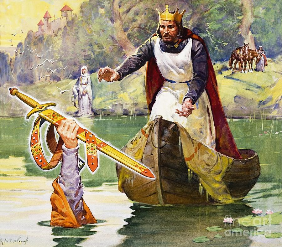 Arthur And Excalibur Painting  -  Arthur And Excalibur Fine Art Print