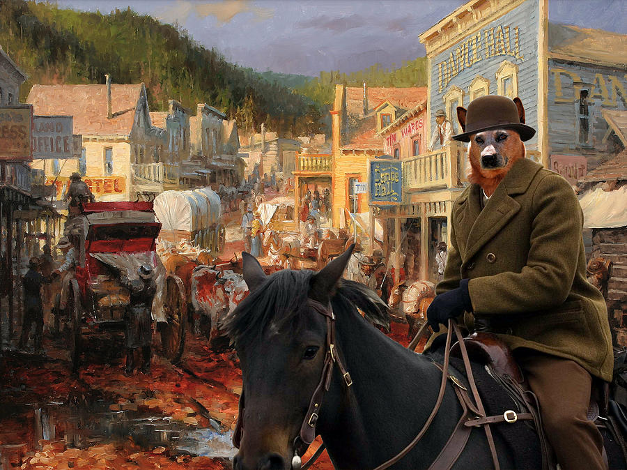 Australian Cattle Dog Canvas Print - Gold Town Painting