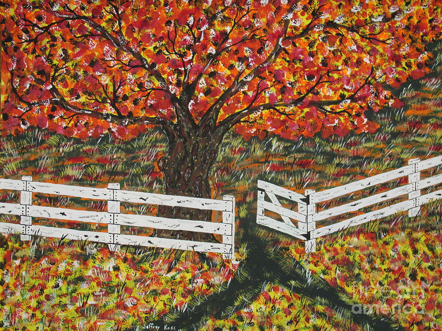 Autumn At The White Fence Farm Painting