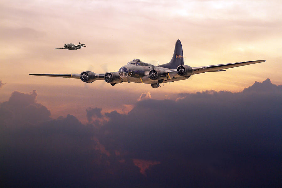 Aircraft Digital Art -  B17- Last Home by Pat Speirs