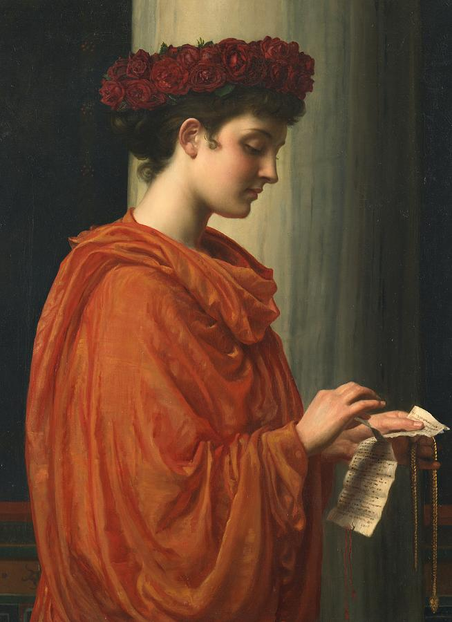 Female; Literature; Poetry; Character; Horace; Odes; Barine; Beauty; Note; Letter; Tearing; Ripping; Profile; Portrait Painting -  Barine by Sir Edward John Poynter