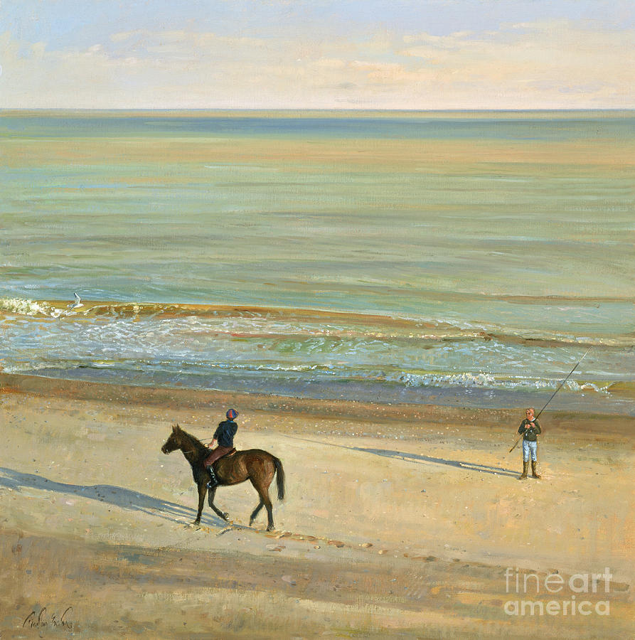 20th; Seaside; Suffolk; Riding; Horse; Rider; Fishing; Rod; Line; Fisherman; Talking; Exchanging Conversation; Sea; Footprints In The Sand Painting -  Beach Dialogue Dunwich by Timothy  Easton