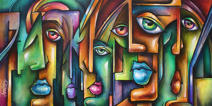Expressionist Painting -  Believers  by Michael Lang