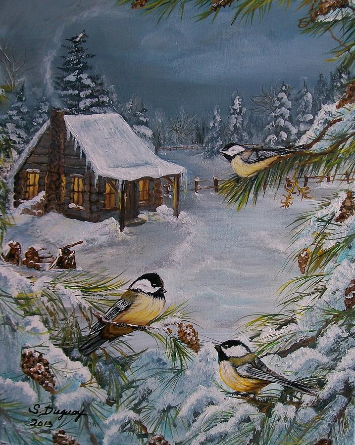Black Capped   Chickadees  Painting