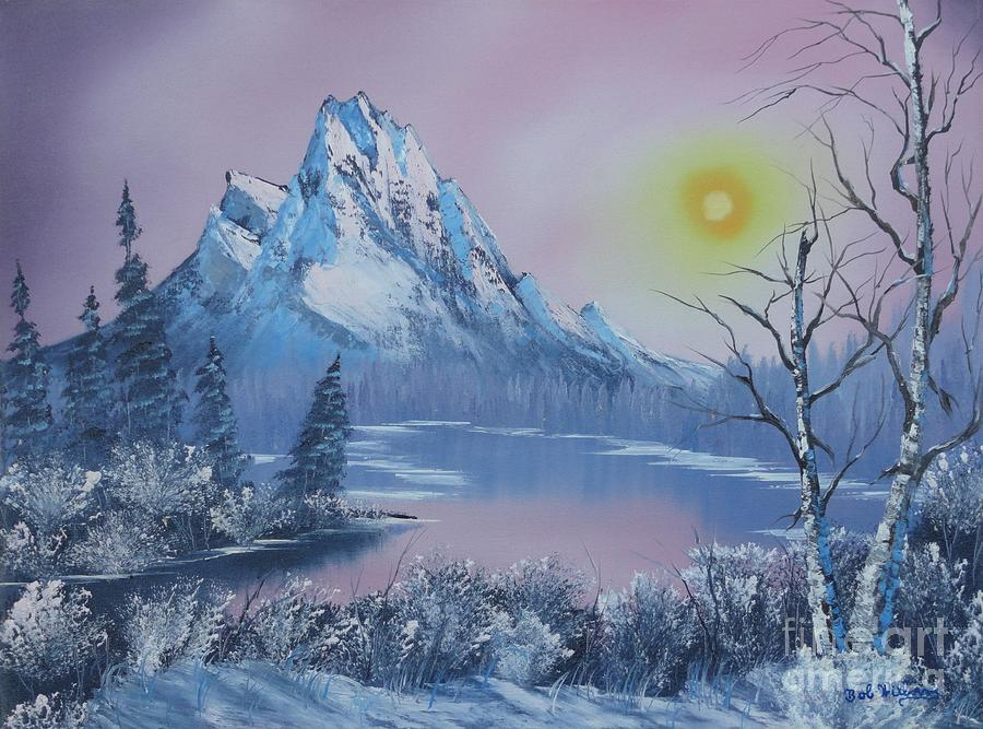 Mountains Painting -  Blue Winters Sunglow  by Bob Williams