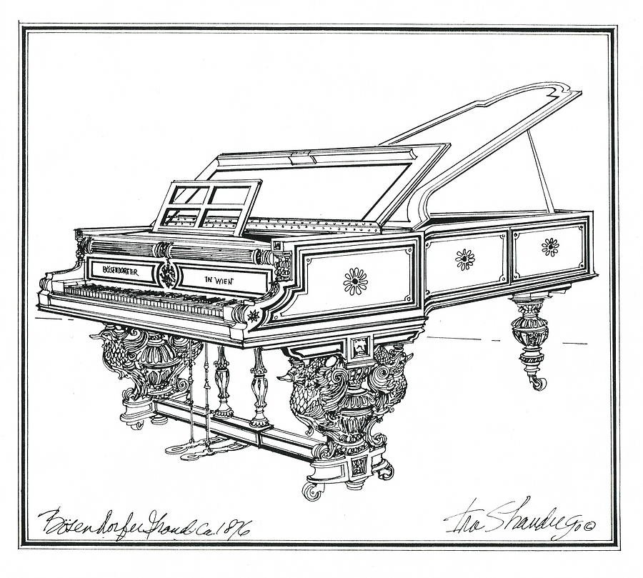 Bosendorfer Centennial Grand Piano Drawing  -  Bosendorfer Centennial Grand Piano Fine Art Print