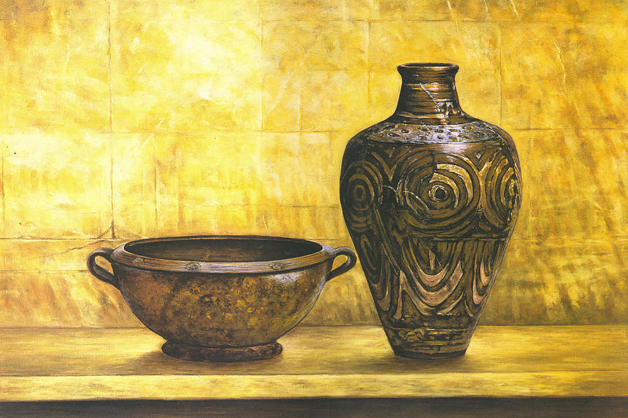 Bowl And Flower Pot Canvas Prints Glass Art