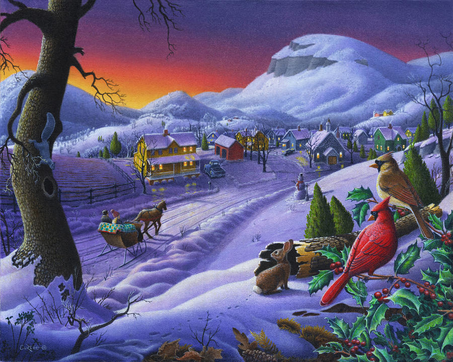 Christmas sleigh ride winter landscape oil painting for Christmas landscape images