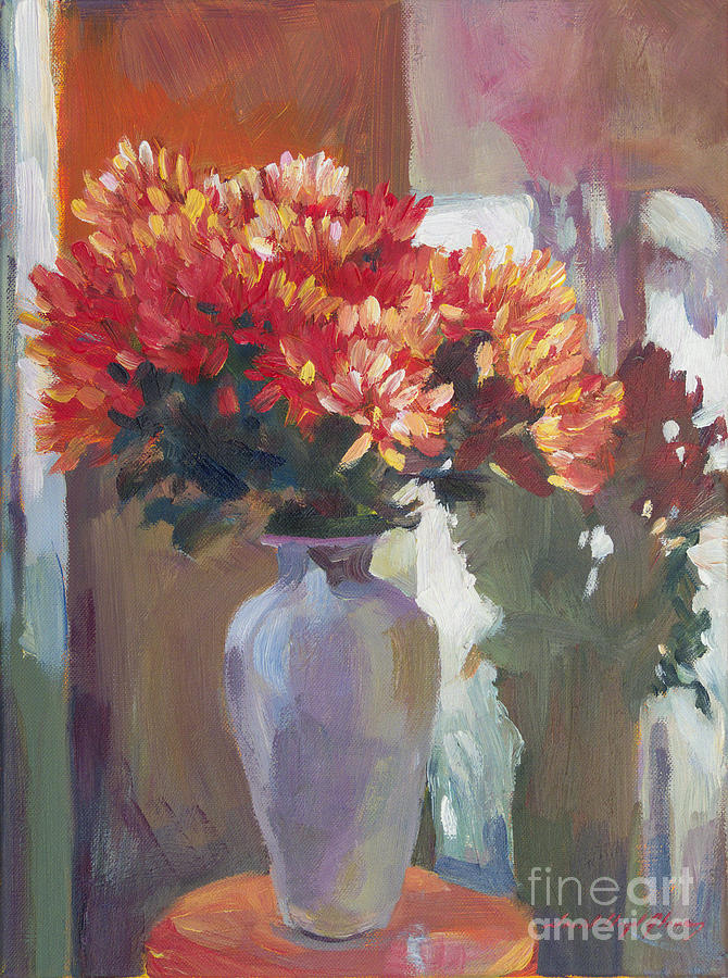 Chrysanthemums In Vase Painting  -  Chrysanthemums In Vase Fine Art Print