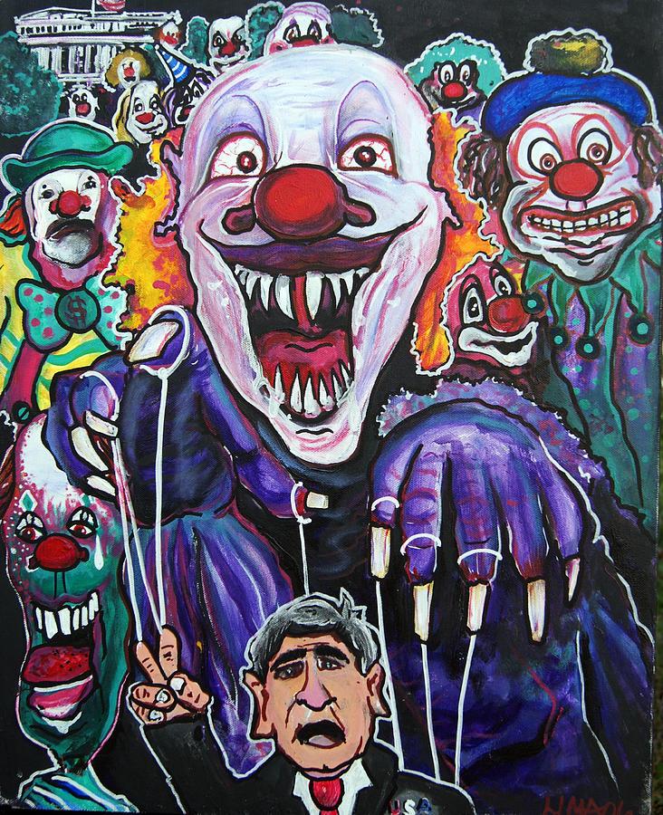 Clown Running  White House Painting