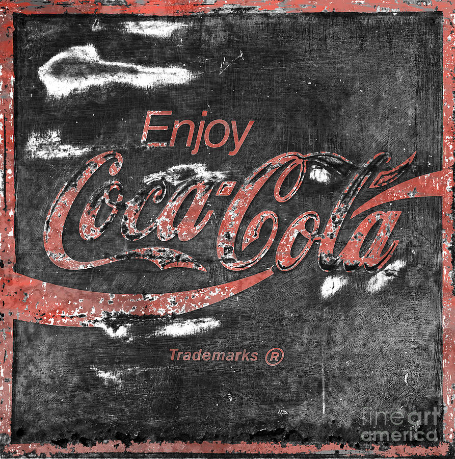 Coca Cola Sign Faded Grunge Photograph  -  Coca Cola Sign Faded Grunge Fine Art Print