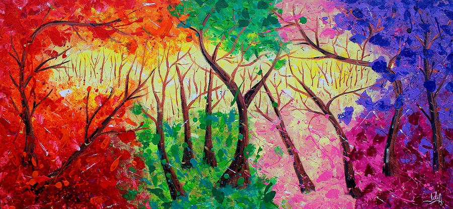 Colorful Mystical Forest Painting