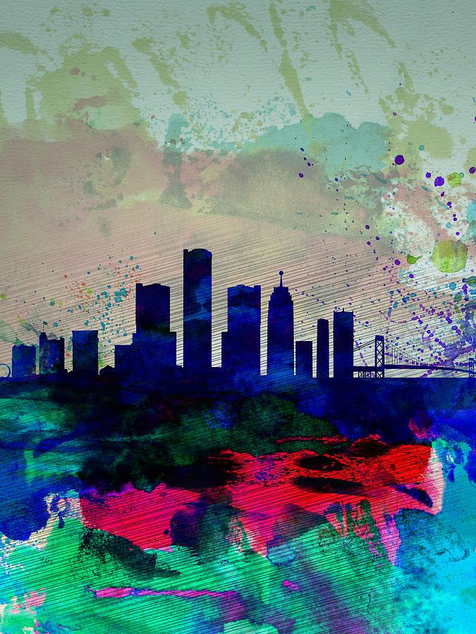 Detroit skyline painting
