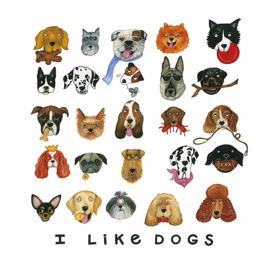Dogs Twenty Five Breeds Painting