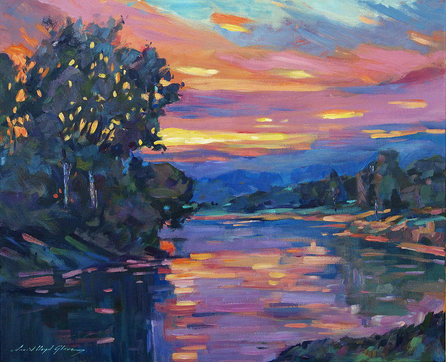 Landscape Painting -  Dusk River by David Lloyd Glover