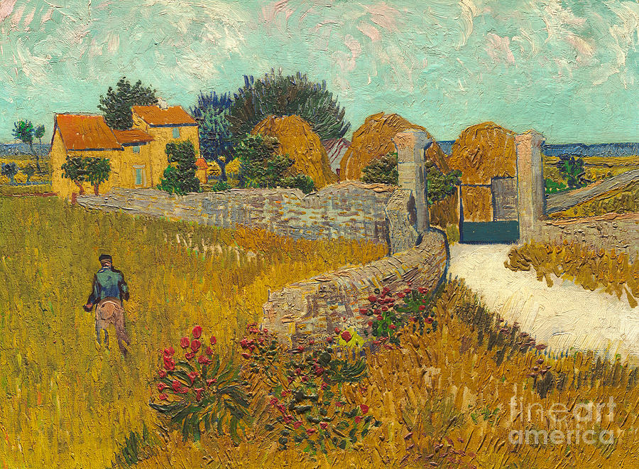 Farmer; Agriculture; Field; Farm; France; South Of France Painting -  Farmhouse In Provence by Vincent van Gogh