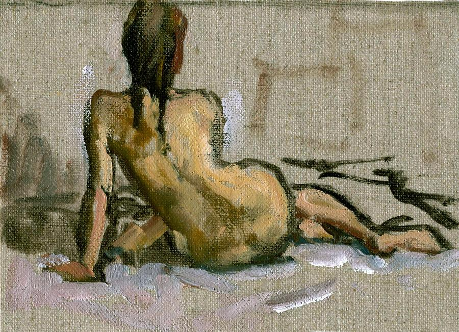 Figure Painting Seated Female Nude. Small Original Oil Sketch On Canvas Realist Figure Painting Painting