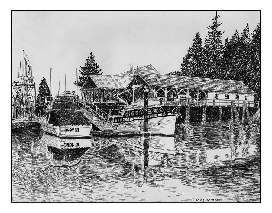 Fishermans Net Shed Gig Harbor Drawing