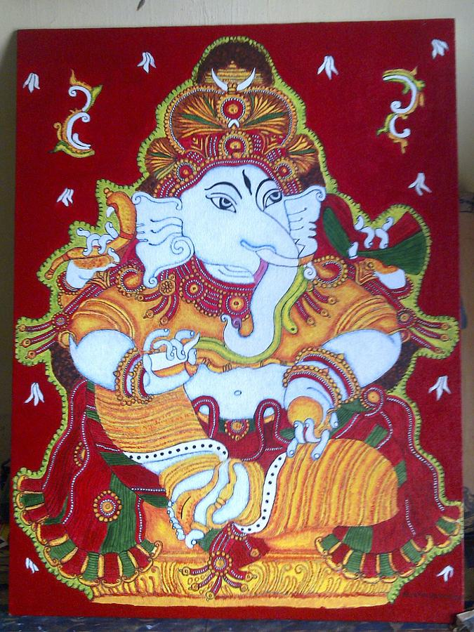 Ganesha mural painting painting by preethy prasad for Mural art of ganesha