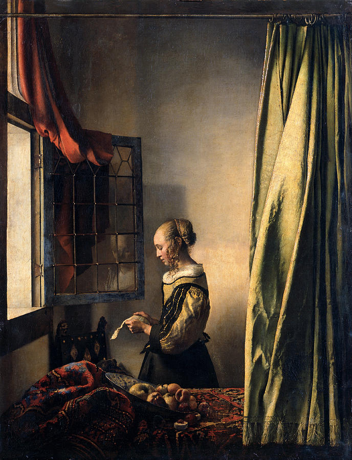 Girl Reading A Letter By An Open Window Painting