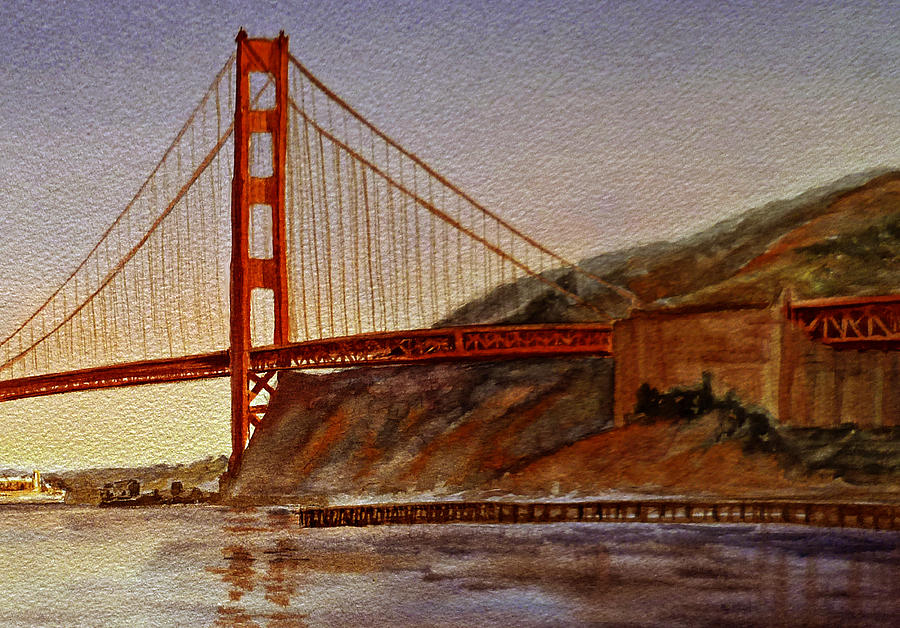 Golden Gate Bridge San Francisco California Painting  -  Golden Gate Bridge San Francisco California Fine Art Print