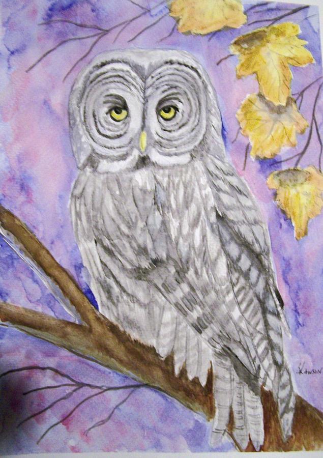 Wildlife Painting -  Grey Owl by Belinda Lawson