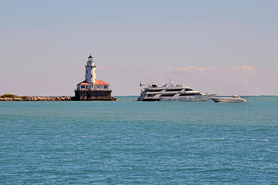 Historical Chicago Harbor Light Photograph  -  Historical Chicago Harbor Light Fine Art Print