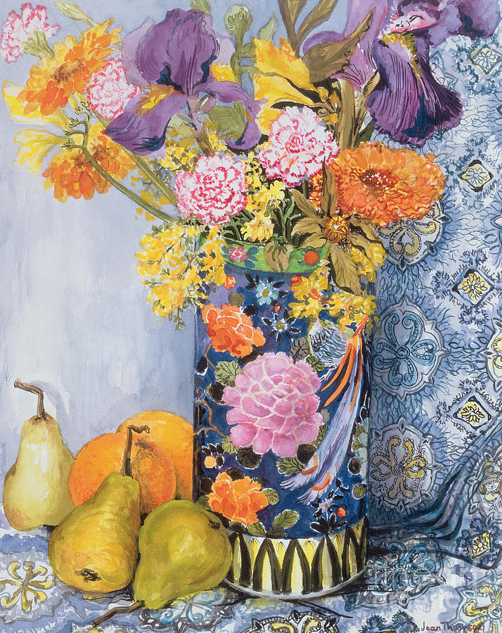 Iris And Pinks In A Japanese Vase With Pears Painting