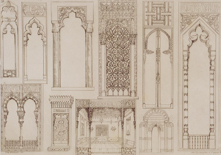 Islamic And Moorish Design For Shutters And Divans Drawing  -  Islamic And Moorish Design For Shutters And Divans Fine Art Print