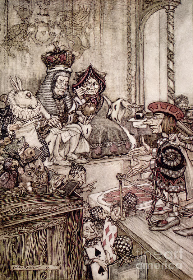 Court; Dock; Judge; Trial; White Rabbit; Jam Tarts; Alice Drawing -  Knave Before The King And Queen Of Hearts Illustration To Alice S Adventures In Wonderland by Arthur Rackham