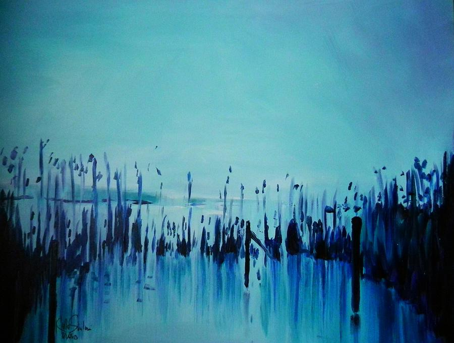 Lake With Reeds In Blue Painting  -  Lake With Reeds In Blue Fine Art Print