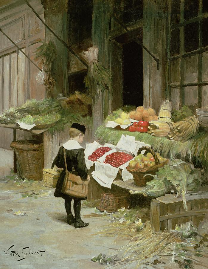 Satchel; Uniform; Cap Painting -  Little Boy At The Market by Victor Gabriel Gilbert