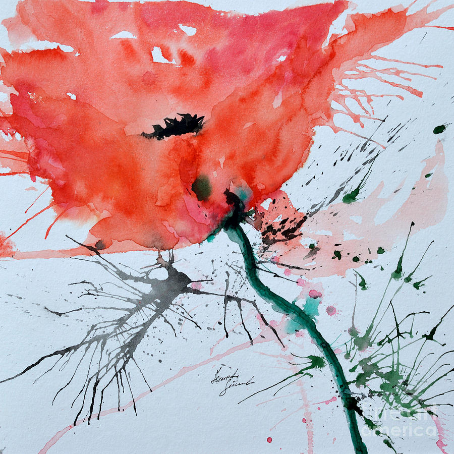 Lonely Poppy Painting  -  Lonely Poppy Fine Art Print