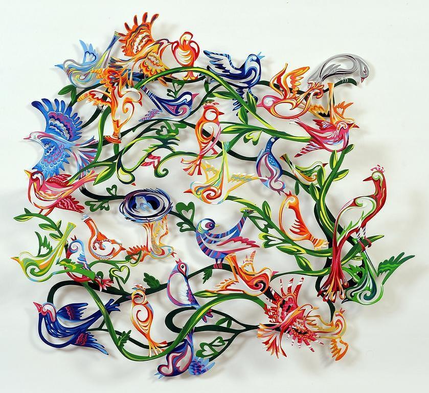 Metal Sculptures Sculpture -  Love Birds by Marina Zlochin