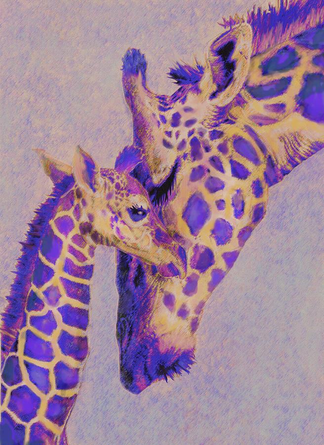 Loving Purple Giraffes Digital Art