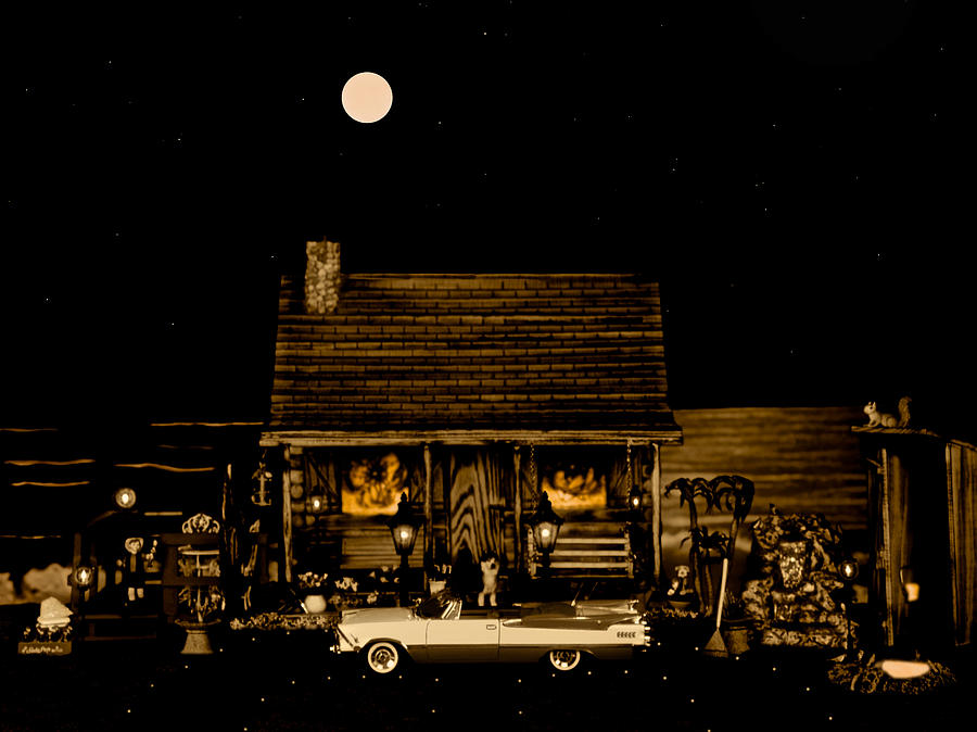 Miniature Log Cabin Scene With The Classic Old Vintage 1959 Dodge Royal Convertible In Sepia Color Photograph