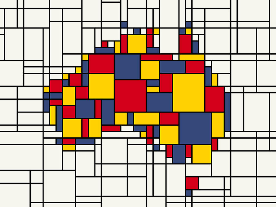 Mondrian Inspired Australia Map Digital Art