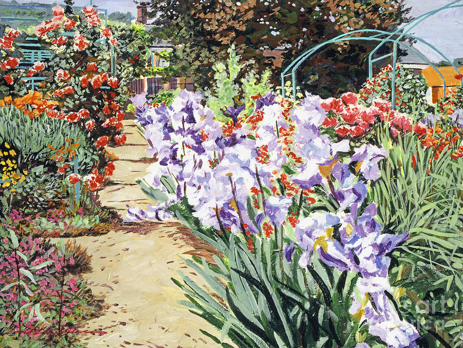 Monets Garden Walk Painting  -  Monets Garden Walk Fine Art Print