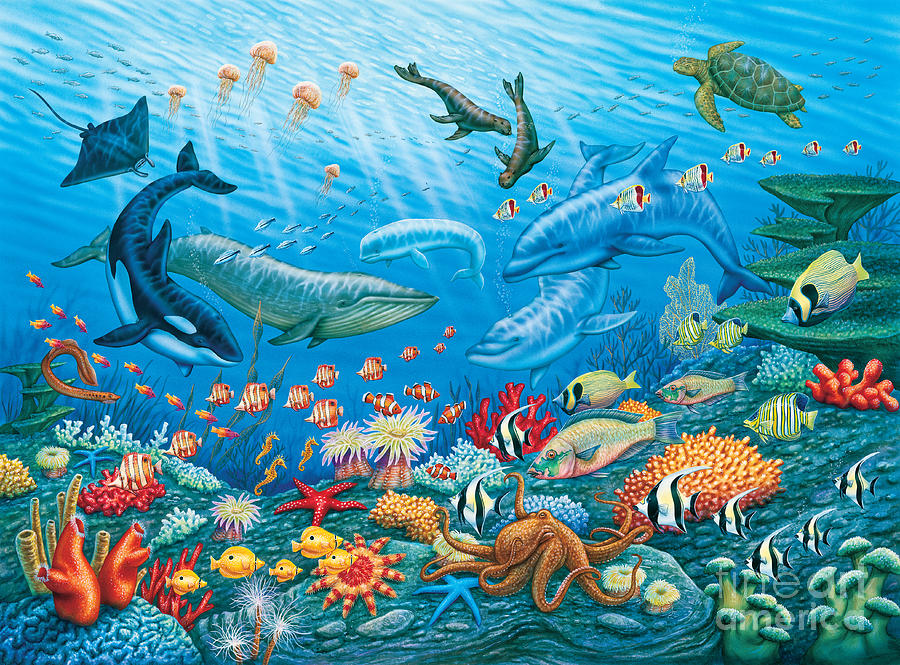 Ocean life painting by phil wilson for Sea life paintings artists