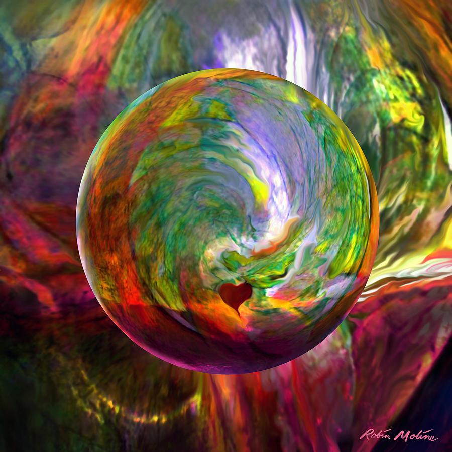 Love Digital Art -  Orbing A Sea Of Love by Robin Moline