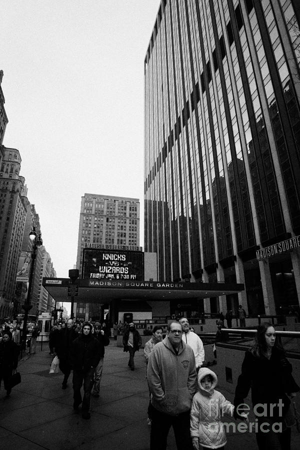 Outside Madison Square Garden New York City Winter Usa Photograph
