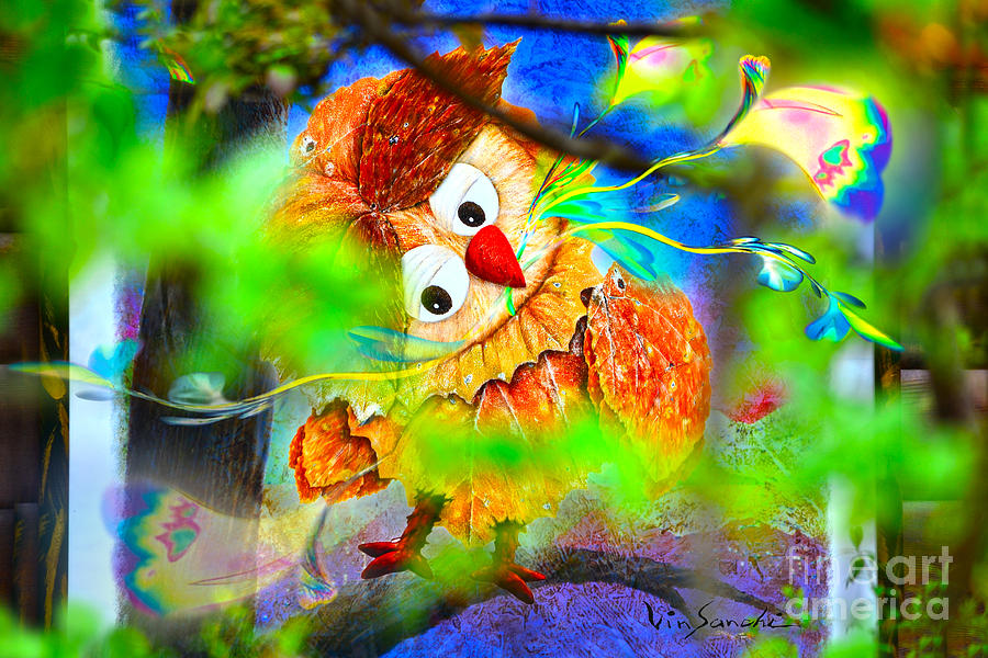 Owl Digital Art -  Owl Leaf Forest 2 by Vin Kitayama