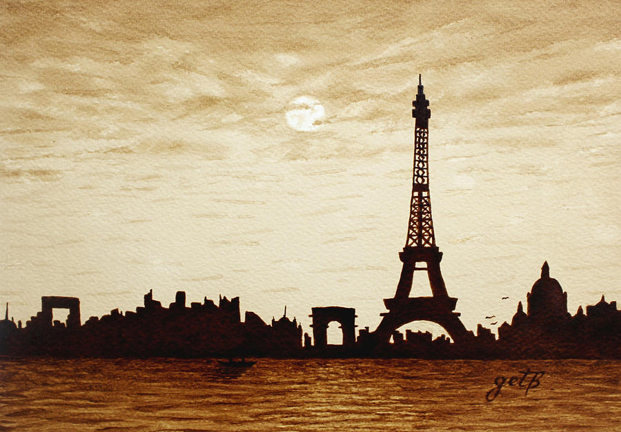 Paris Under Moonlight Silhouette France Painting