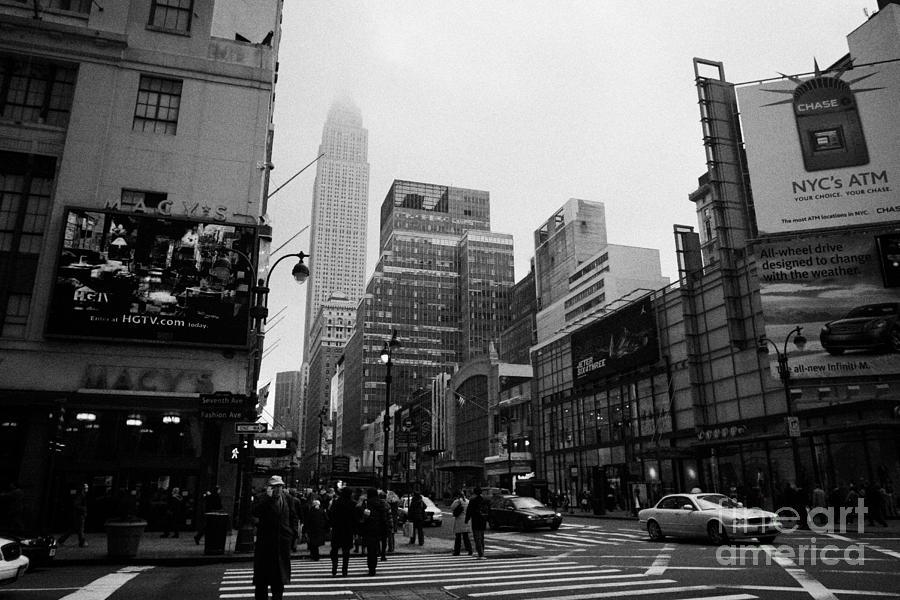 Usa Photograph -  Pedestrians Crossing Crosswalk Outside Macys 7th Avenue And 34th Street Entrance New York City by Joe Fox