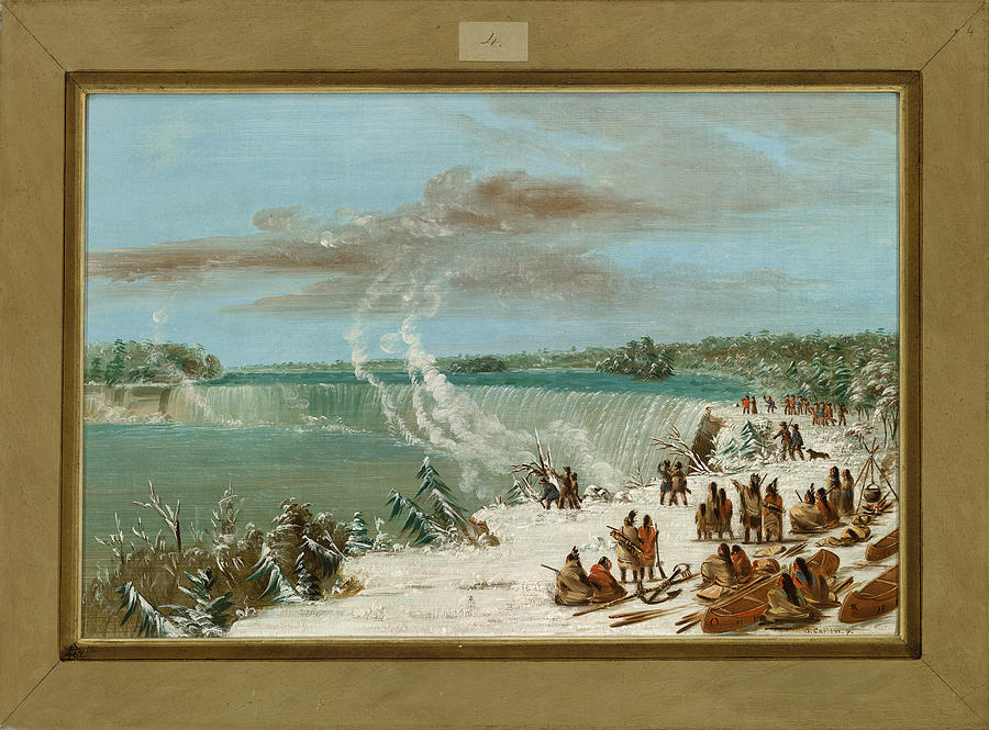 Native; American; Indian; Indians; Camp; Canoes; Canoe; America; Usa; Transporting; Water; Portaging; Waterfall; Waterfalls Painting -  Portage Around The Falls Of Niagara At Table Rock by George Catlin